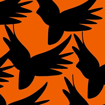 Black Birds in Orange Sky for Halloween  by signorino