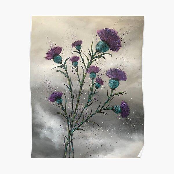 Scottish traditional purple thistle  Poster