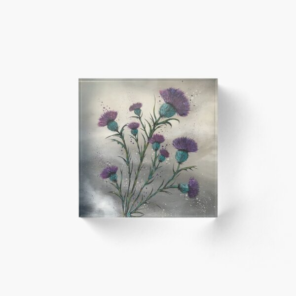 Scottish traditional purple thistle  Acrylic Block