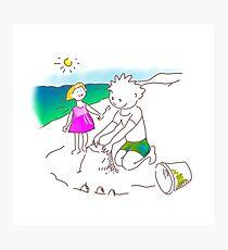 Auf zum Strand, Kinder! - ¡Vamos a la playa, niños!  -  Let´s Go to the Beach, Kids! Lámina fotográfica