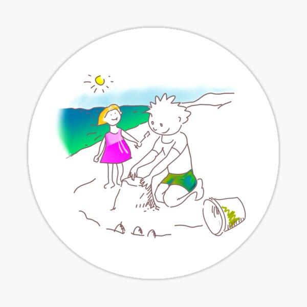 Auf zum Strand, Kinder! - ¡Vamos a la playa, niños!  -  Let´s Go to the Beach, Kids! Sticker
