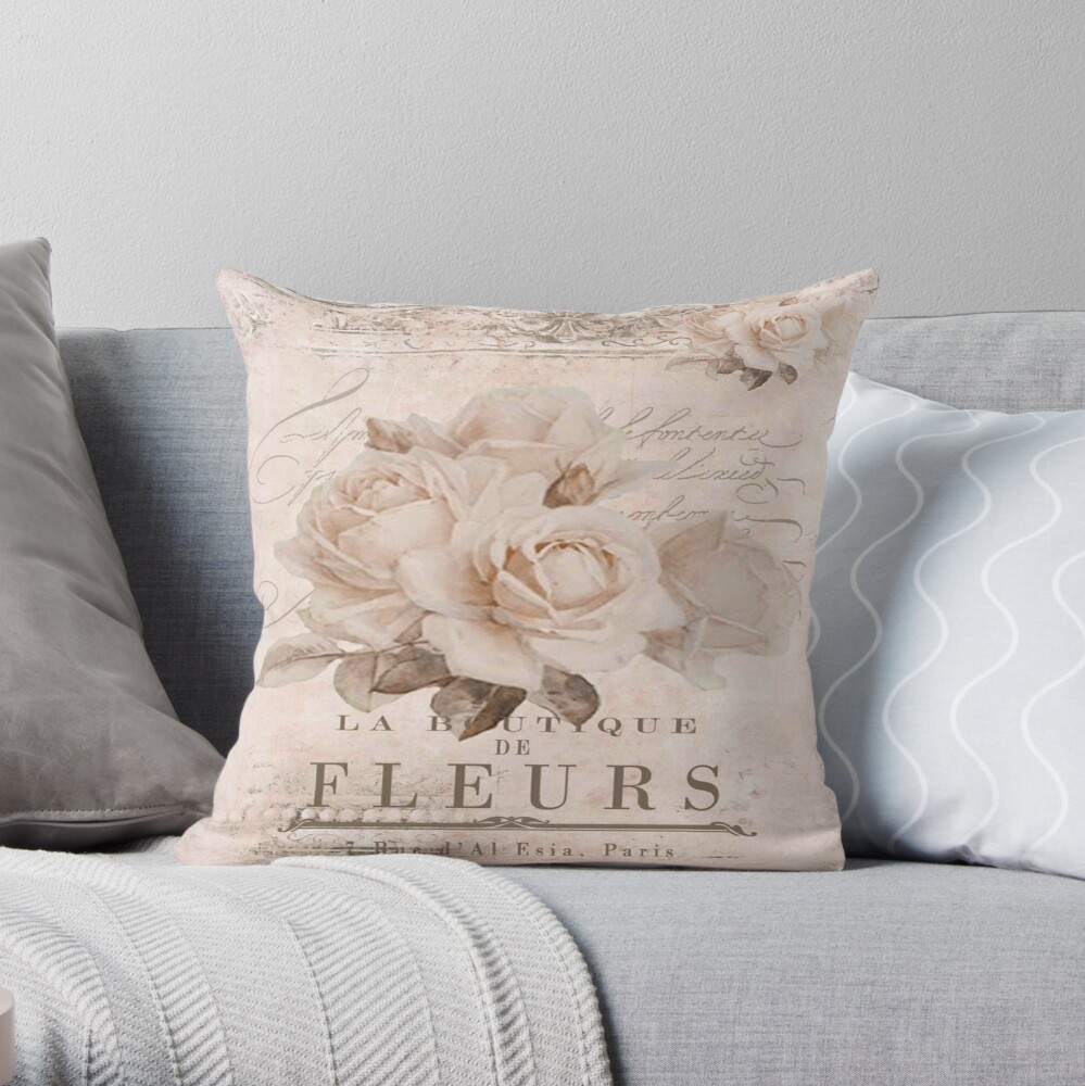 french vintage roses Throw Pillow