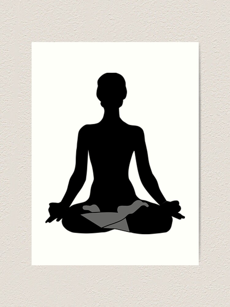 Black And White Yogi Yoga Posture Lotus Yoga Modern Contemporary Art Art Print By Love999 Redbubble