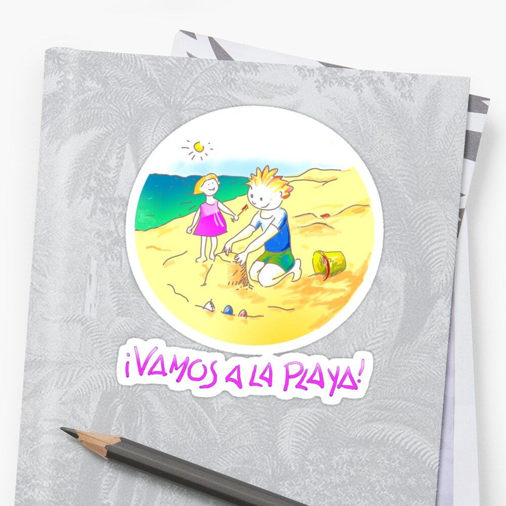 ¡Vamos a la playa, niños!  -  Let´s Go to the Beach, Kids!  - Auf zum Strand, Kinder! Sticker