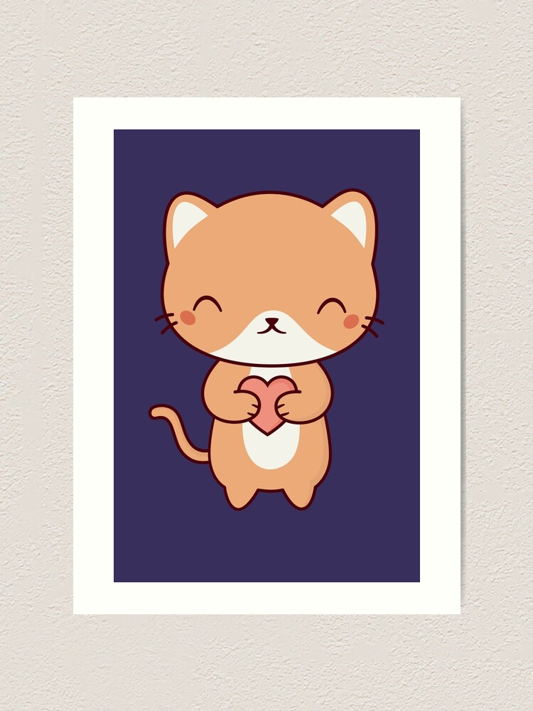 Cute Kawaii Kitten Cat Art Print By Happinessinatee Redbubble