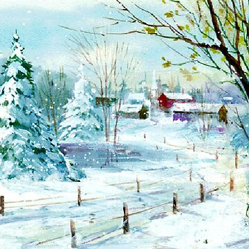 Vintage Watercolor Winter Landscape by Digitalbcon