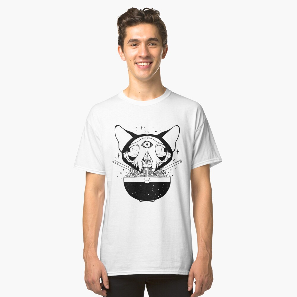 Cuenco de fideos Raman con cráneo de gato con tercer ojo Camiseta clásica