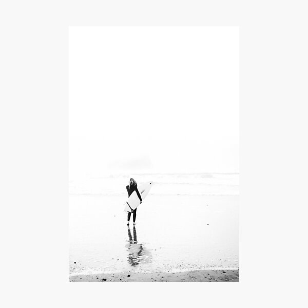 Surfer Girl on Beach - Surf Art - Black and white photography - Minimalist Photographic Print