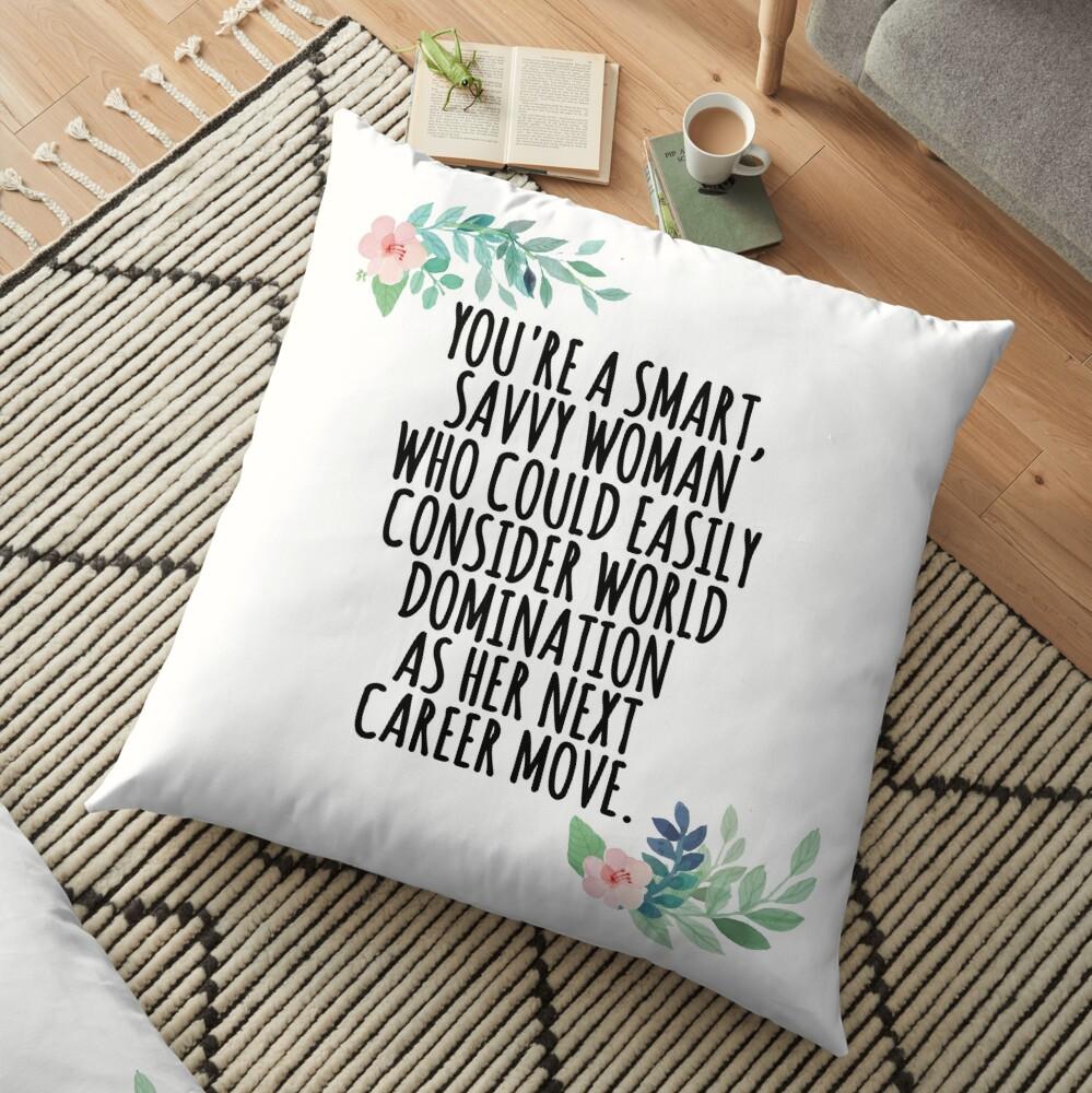 smart, savvy woman Floor Pillow
