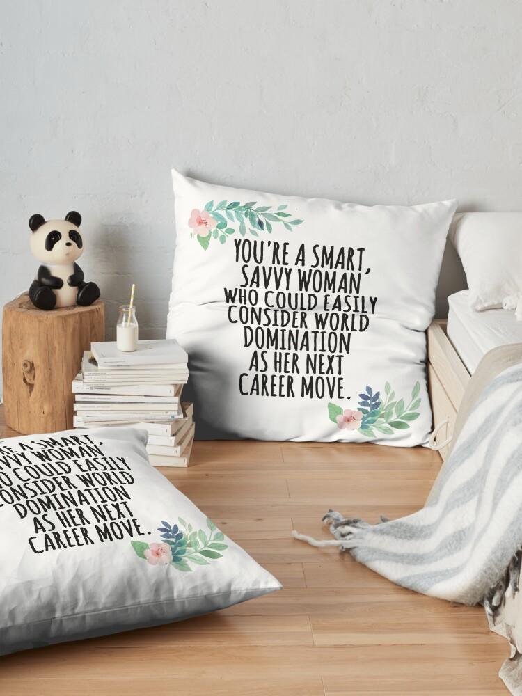 Alternate view of smart, savvy woman Floor Pillow