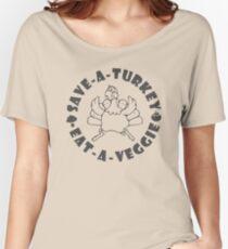 Save-A-Turkey Eat-A-Veggie Thanksgiving T-shirt for Vegans (Dark Print) Women's Relaxed Fit T-Shirt