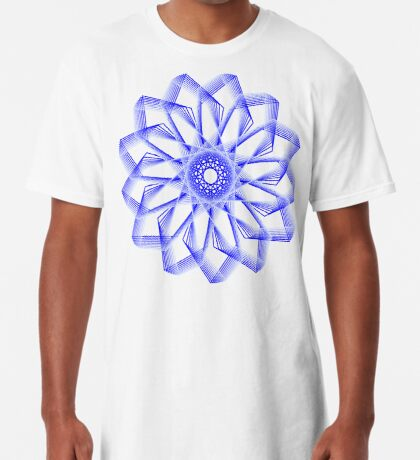 Blue Lines Abstract Flower Long T-Shirt