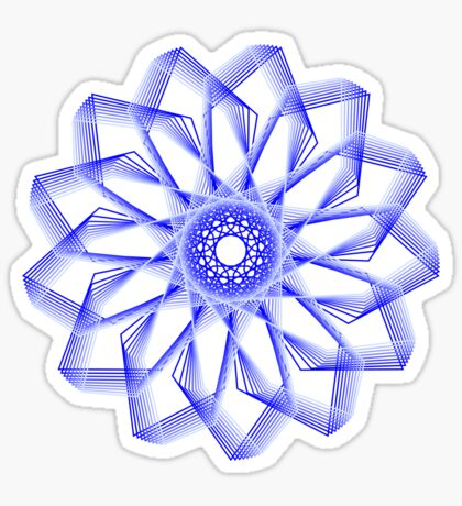 Blue Lines Abstract Flower Sticker