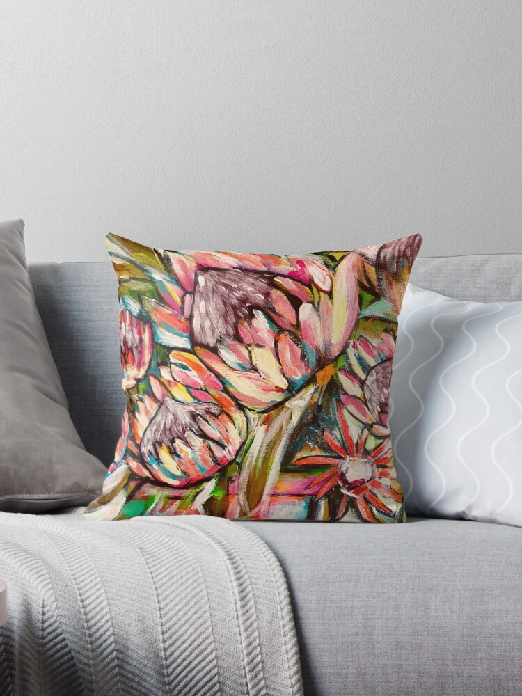 Quot Proteas1 Quot Throw Pillows By Mariannetowart Redbubble