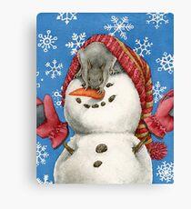 Snowman with Squirrel Canvas Print
