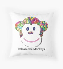 Release the Monkeys - Color Throw Pillow