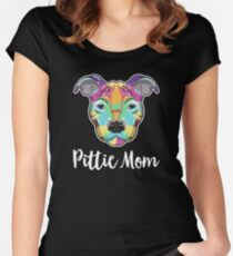 Pittie Mom / Pit Bull Mom / American Bully / American Pit Bull Terrier / Hand Drawn Illustration Design Fitted Scoop T-Shirt