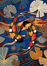 Koi Watergarden Oriental Blue by Karin Taylor