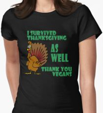 Funny Turkey I Survived Thanksgiving T-Shirt for Vegans Women's Fitted T-Shirt