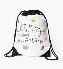 You, Me, Snowstorm Drawstring Bag