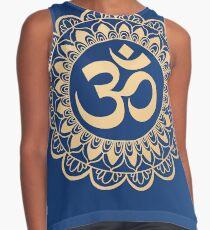 Blue and Gold Ohm Mandala Contrast Tank
