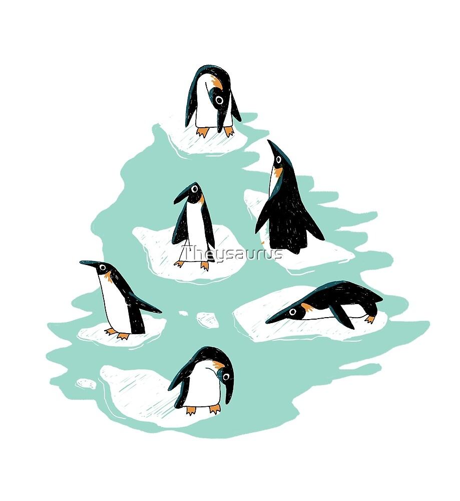 «Pingüinos en el hielo - azul» de Theysaurus