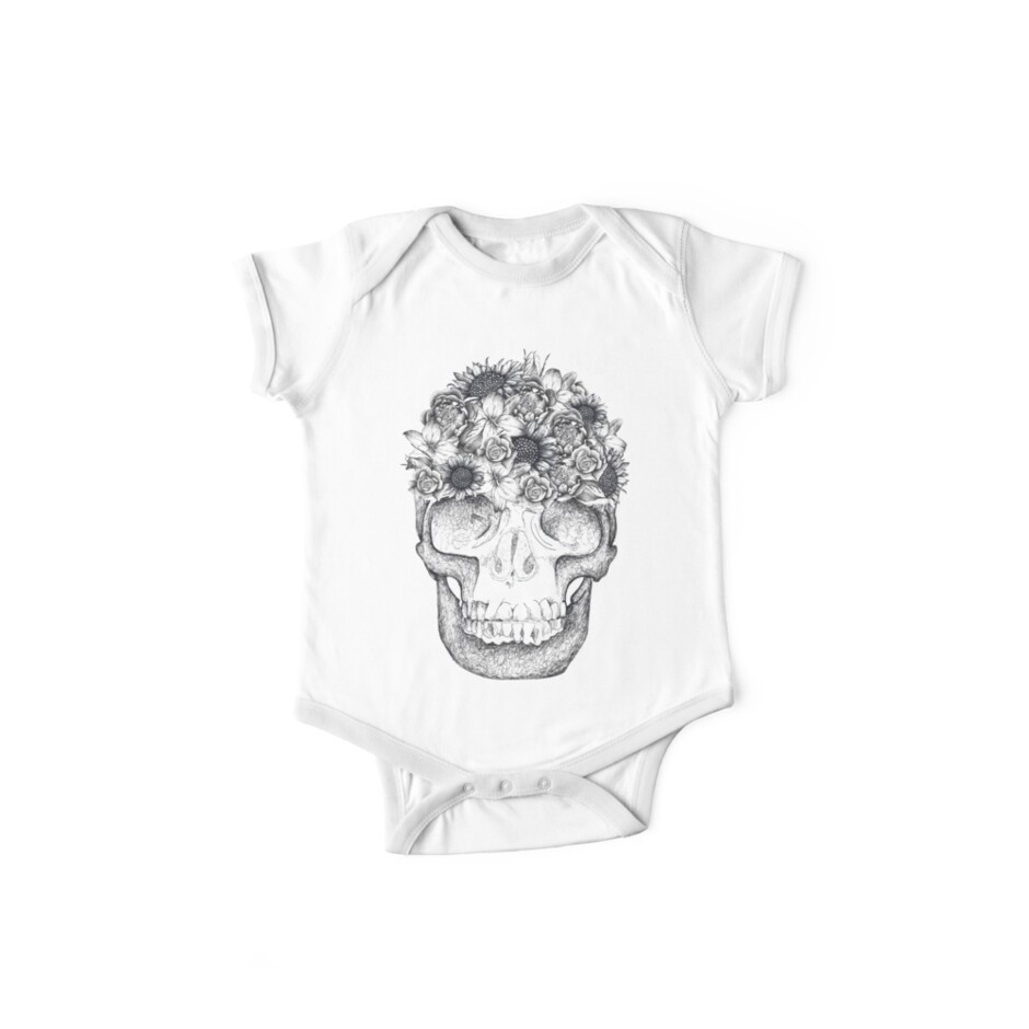 Mexican Skull and Lotus Flower Sugar Short Sleeve White Baby Onesie