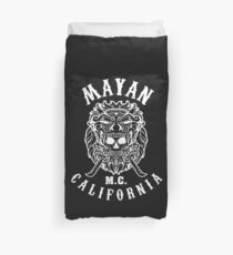 Mayan Motorcycle Club T-shirt Vintage Skull with California Duvet Cover