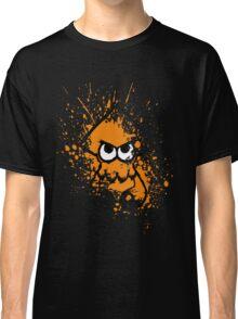 Splatoon Black Squid with Blank Eyes on Orange Splatter Mask Classic T-Shirt