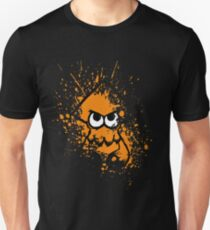 Splatoon Black Squid with Blank Eyes on Orange Splatter Mask Unisex T-Shirt