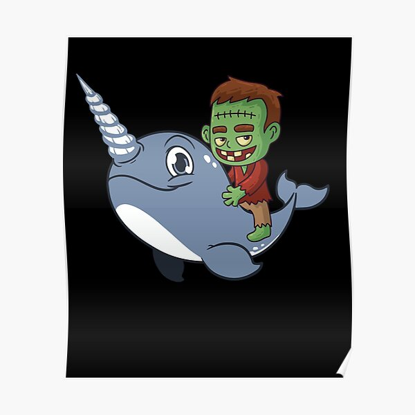 Funny Zombie Narwhal Riding Poster