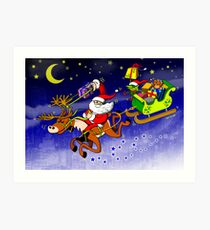 Santa's Gift Delivery with a Slingshot! Art Print