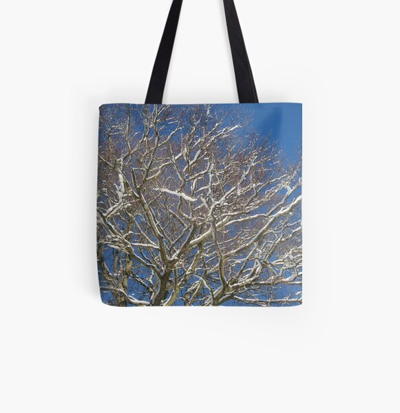 Snowy Branches All Over Print Tote Bag
