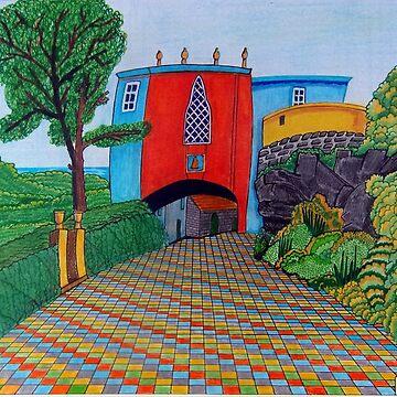 436 - BRIDGE HOUSE, PORTMEIRION - DAVE EDWARDS - COLOURED PENCILS & FINELINERS by BLYTHART