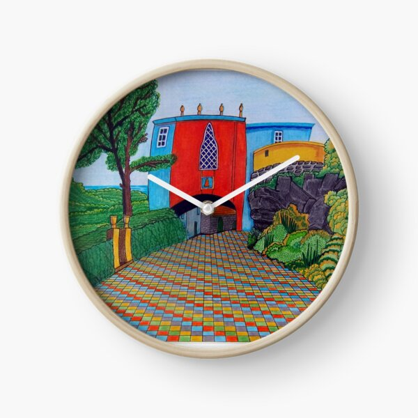 436 - BRIDGE HOUSE, PORTMEIRION - DAVE EDWARDS - COLOURED PENCILS & FINELINERS Clock