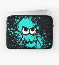 Splatoon Black Squid with Blank Eyes on Cyan Splatter Mask Laptop Sleeve