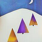 Three Trees Lilac and Yellow by Jennifer J Watson