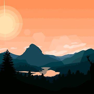 Atardecer de montaña de Bigcoin