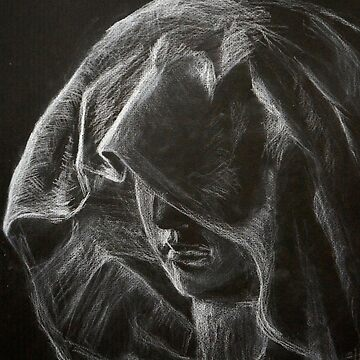 Portrait of a mysterious woman in hood. Woman hiding her face. Black and white chalk drawing.  by rusmashart