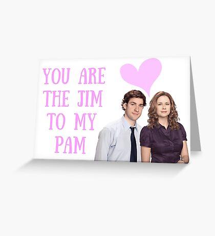 Tarjeta de Jim y Pam, tarjeta de aniversario, tarjeta del día de San Valentín, día de Galentine, romántica, amor, rosa, genial, linda, amistad, para él, para ella, buenas vibraciones. Tarjeta de felicitación