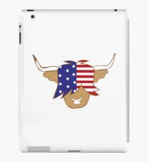 Highland cow USA flag blue red and white coo iPad Case/Skin