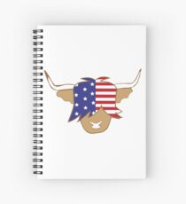 Highland cow USA flag blue red and white coo Spiral Notebook