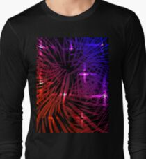 Vector blue and red tricolor background in lights and fireworks. Long Sleeve T-Shirt