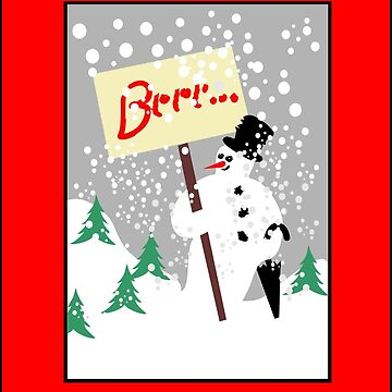 Snowman with text board and snowfall by robelf