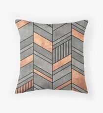 Abstract Chevron Pattern - Concrete and Copper Throw Pillow