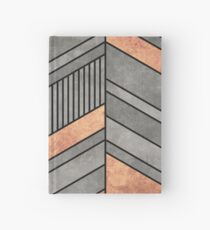 Abstract Chevron Pattern - Concrete and Copper Hardcover Journal