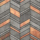 Abstract Chevron Pattern - Concrete and Copper by Zoltan Ratko