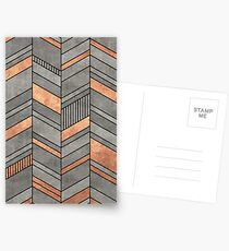 Abstract Chevron Pattern - Concrete and Copper Postcards