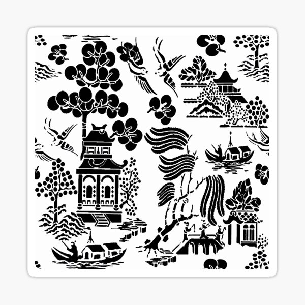 Chinoiserie black and white by Lorloves Design Sticker