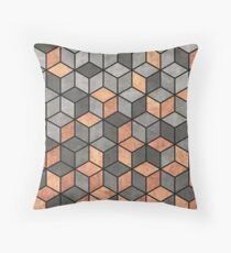 Concrete and Copper Cubes Throw Pillow